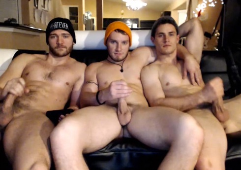 3 horny young studs show off on cam