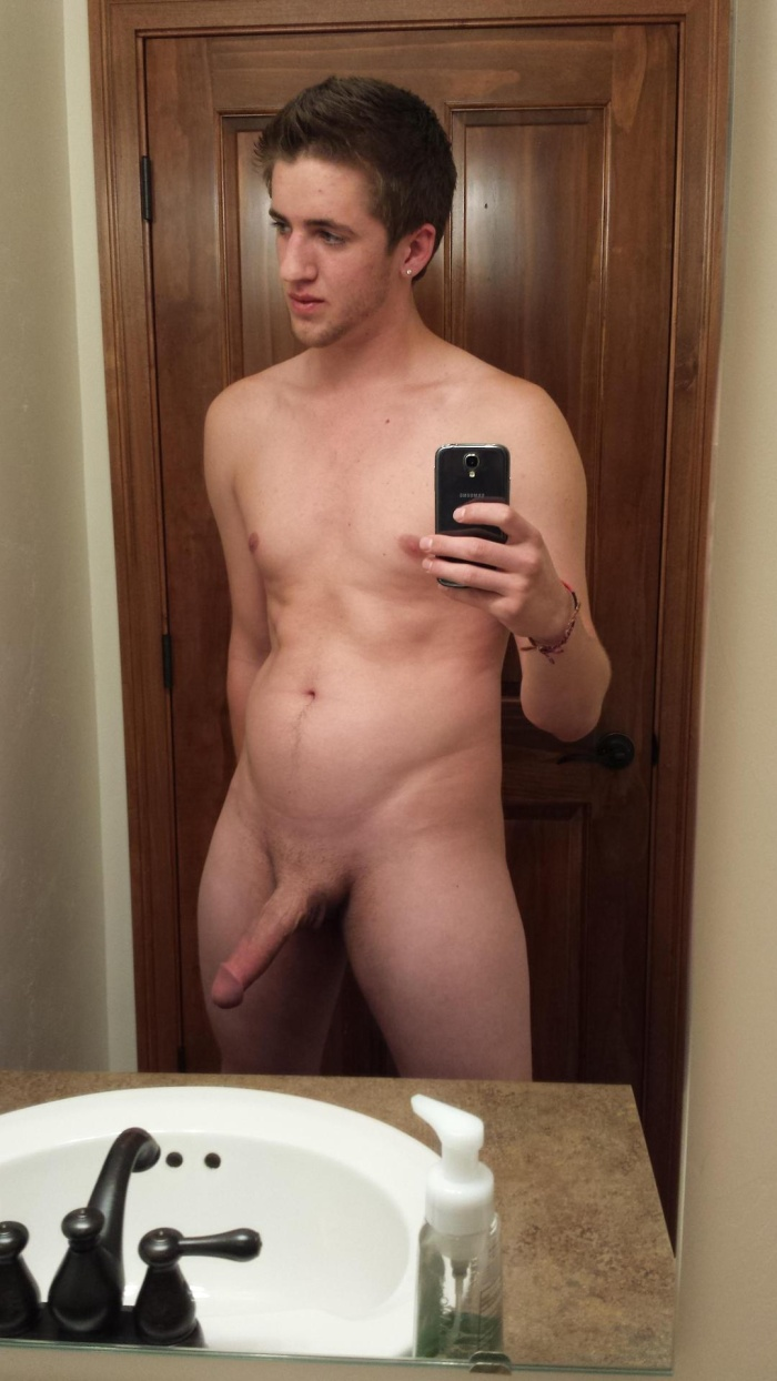 Slim and Fit Lad with semi hard cock